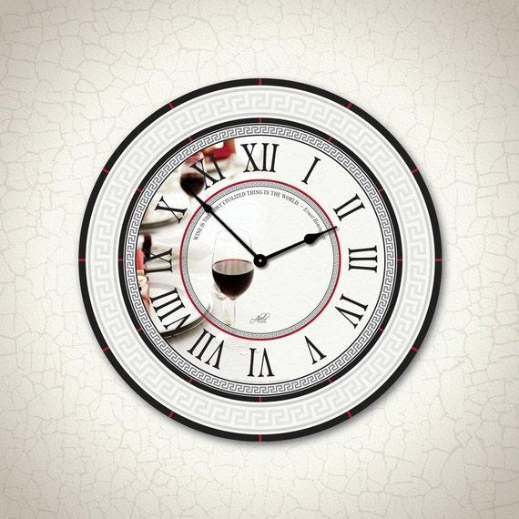 SALE - Apollonia - 23in Large Wall Clock. Black, White, Red. Wine Clock. Modern Decor. Kitchen Clock. Wedding Gift. European. Ready to Ship.