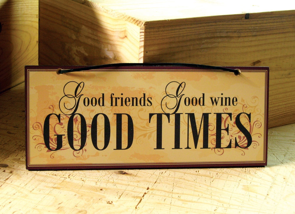 Decorative Wall Sign with Wine Saying in Yellow Dark Red and