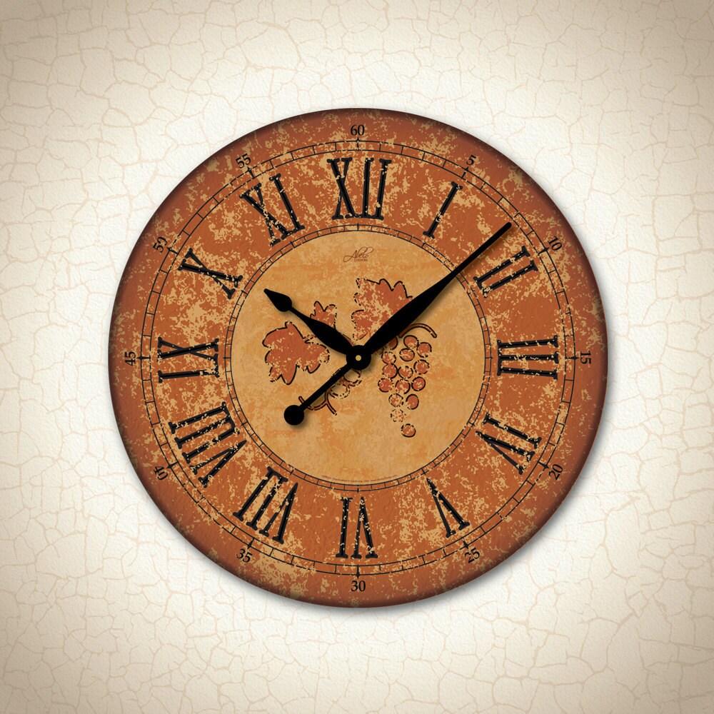 Large Wall Clock In Burnt Orange Amp Black Rustic Clock Wine