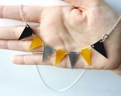 Yellow Grey and Black Handmade Bunting Necklace