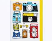 Colourful Retro Vintage Camera Greeting Card
