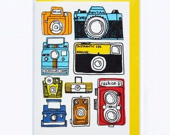 Colourful Retro Vintage Camera Greeting Card