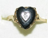 Victorian Heart Onyx Diamond 9ct 9kt 10ct 10kt YG yellow gold ring size 7 Vintage