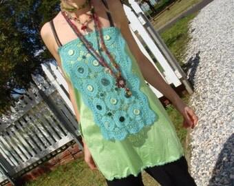 Rainforest Elven Green Slip Apron Skirt or Top