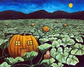 "Night in the Pumpkin Patch 8""x10"" Illustration"