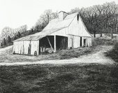 White Barn on Bluff Road 8x10 giclee print of charcoal drawing