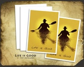 Kayaker Life is Good 2 5X7 notecards and Envelopes