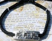 Wax Cord Bracelet with Sterling Silver Beads  Flowers and Saying