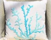 Sea Coral in Aqua Pillow