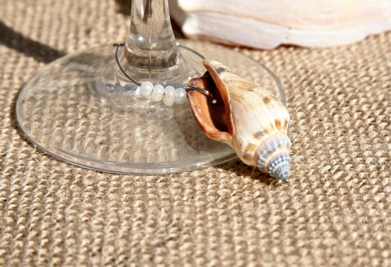 Coastal Natural Sea Shell Wine Charms