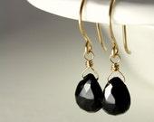 NIGHT - black spinel 14K gold filled dangle earrings
