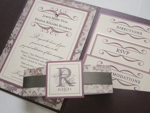 french scroll pocket fold wedding invitations by sweettalkdesigns