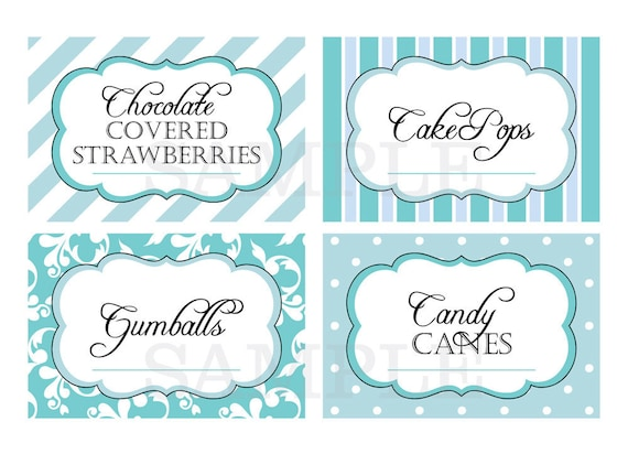 printable candy buffet labels for wedding or shower shades
