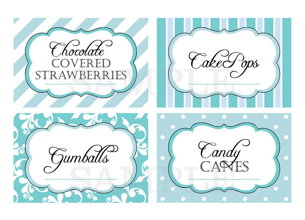 Labels: Printable Candy Buffet Labels For Wedding Or Shower Shades