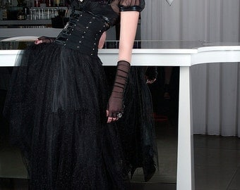black tulle gothic princess skirt