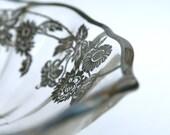 Vintage Glass Bowl, Candy Dish, Ornate Silverwork,  Daisy, Elegant Entertaining. White Gray