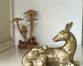 Deer and her Fawn - Brass - Vintage Woodland Home Decor