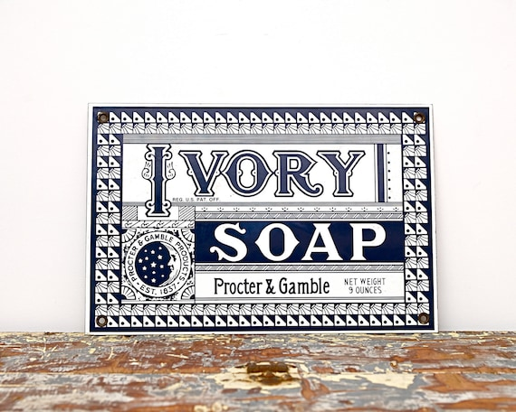 Vintage Advertising Sign Ivory Soap Shop Ad Sign Black And