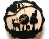 laser cut black wall clock. enchanted forest.whimsical,wood, by snowfawn on etsy
