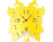 cuckoo clock. yellow. woodland, modern, by snowfawn on etsy