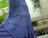 Ariel on Earth Boho Gypsy Long Tiered Ruffle Cotton Skirt - Navy Blue