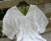 Thai Simply Loose Fit Cotton V Blouse - WHITE