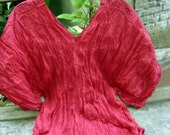 Thai Simply Loose Fit Cotton V Blouse - RED