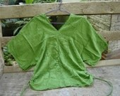Thai Simply Loose Fit Cotton V Blouse - Apple Green