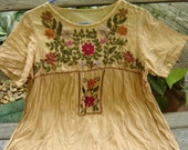 Short Sleeves Bohemian Embroidered Top in Mustard Yellow