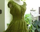 Princess Cotton Dress - Apple Green