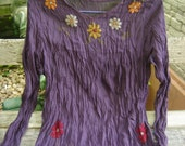 L-XL Long Sleeves Bohemian Embroidered Top in Dark Purple