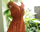 Princess Cotton Dress - Brick Orange