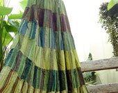 Woven Dyed Cotton Long Tiered Skirt - G0304