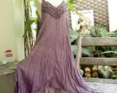 Double Layers Maxi Cotton Dress III - Soft Purple