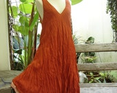 M-XL Double Layers Cotton Dress - Brick Orange