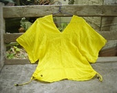 Thai Simply Loose Fit Cotton V Blouse - Yellow