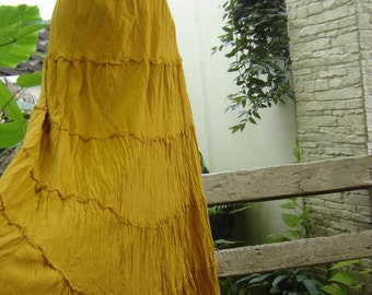ARIEL ON EARTH - Boho Gypsy Long Tiered Ruffle Cotton Skirt - Mustard