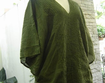 Thai Simply Loose Fit Cotton V Blouse - Olive Green
