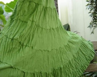 Ariel on Earth - Boho Gypsy Long Tiered Ruffle Cotton Skirt - Apple Green