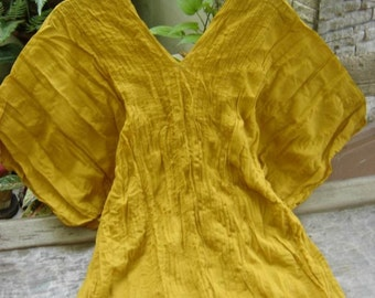Thai Simply Loose Fit Cotton V Blouse - Mustard