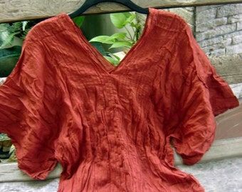 Thai Simply Loose Fit Cotton V Blouse - BRICK/ Orange