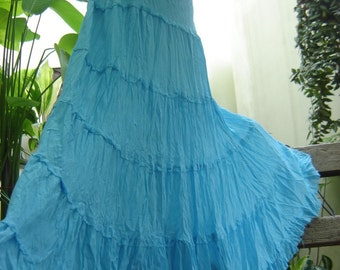 ARIEL on Earth - Boho Gypsy Long Tiered Ruffle Cotton Skirt - Sky Blue