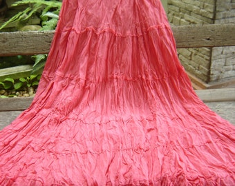 Ariel on Earth Boho Gypsy Long Tiered Ruffle Cotton Skirt - Peachy Pink