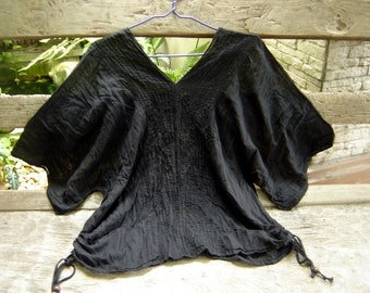 Thai Simply Loose Fit Cotton V Blouse - Black