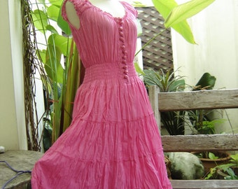 Princess Cotton Short Dress - Pink