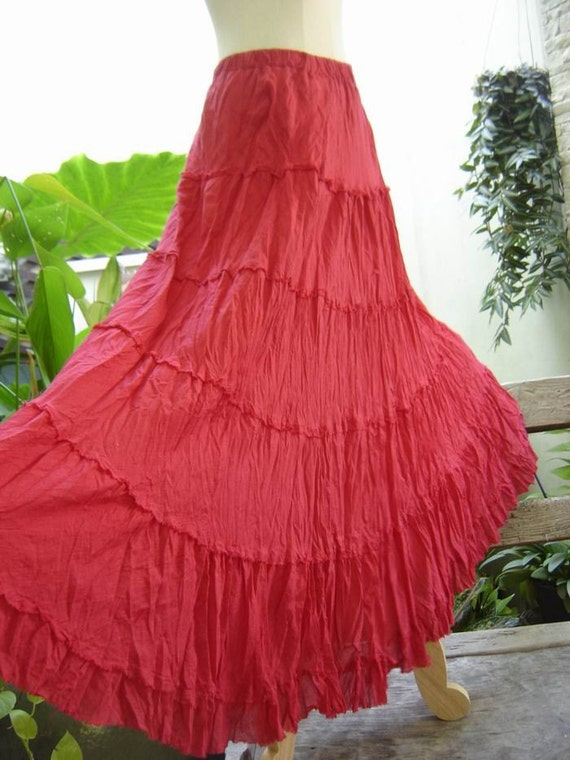 Ariel on Earth - Hobo Gypsy Long Tiered Ruffle Cotton Skirt - RED