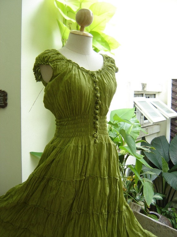 Princess Cotton Dress - Apple Green