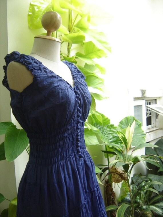 Princess Cotton Short Dress - BLUE