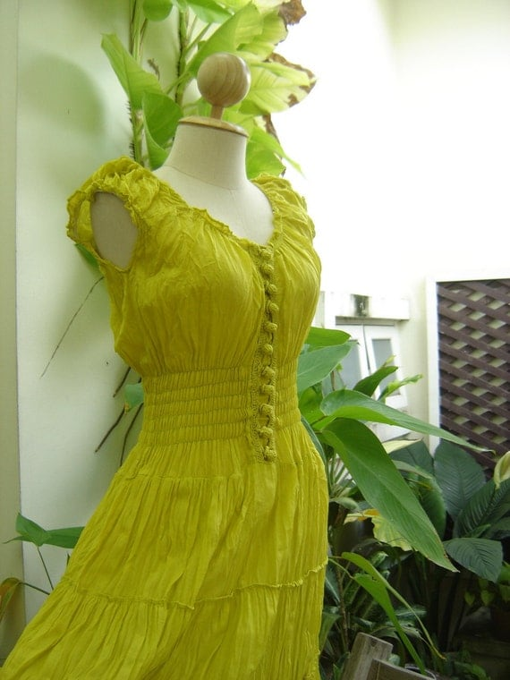 Princess Cotton Dress - Lemon