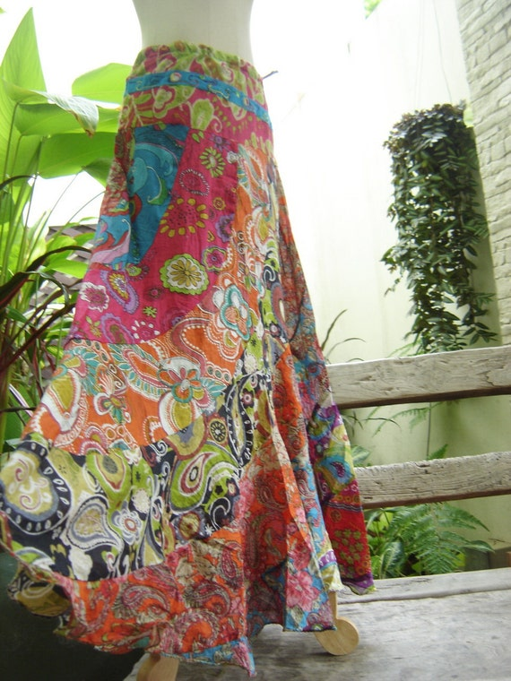 Soft Cotton Patchwork Extra Long Skirt - OM1414